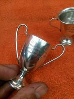3 x Antique Sterling Silver Hallmarked Silver Trophies Cups C1930's (10 of 12)