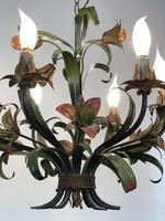 French Large 6 Arm Floral Toleware Chandelier Ceiling Light (3 of 8)