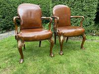 Pair of Leather Queen Anne Style Armchairs (2 of 10)