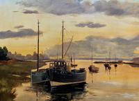 'the Estuary At Sundown' A Large Superb Original Vintage Seascape Oil Painting (5 of 12)