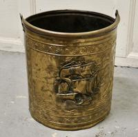 Embossed Brass Coal Bucket with a Tea Clipper Sea Scene (5 of 5)