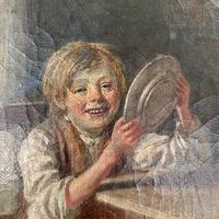 Antique Georgian oil painting study of boy in kitchen scullery with pewter plate (4 of 10)