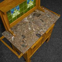 Arts & Crafts Oak Washstand with Marble Top (12 of 14)
