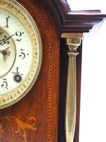 Superb Ansonia Oak Inlaid Mantel Clock Arched Top 8 Day Striking Mantle Clock (4 of 11)