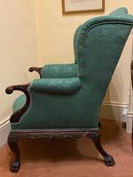 George II Style Solid Mahogany Ornately Carved Wing Armchair (7 of 10)