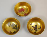 Beautiful Set of Three Japanese Lacquer Bowls (6 of 9)