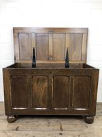 Vintage Oak Panel Blanket Box or Coffer Chest (10 of 15)