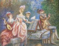 Beautiful Miniature Painting after Boucher Musicians in a Woodland (2 of 7)