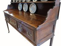 18th Century Antique English Georgian Oak Pad Foot Dresser & Rack (2 of 9)