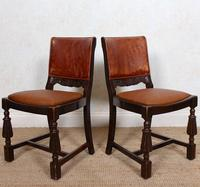 4 Carved Oak Leather Dining Chairs (3 of 12)