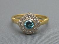 Diamond & Blue Zircon Cluster Ring