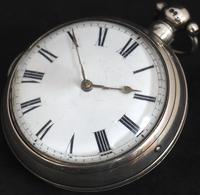 Antique Silver Pair Case Pocket Watch Fusee Verge Escapement Key Wind Enamel Dial Richardson London (9 of 13)