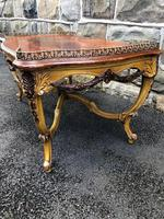 Antique Inlaid Rosewood & Polychrome Painted Coffee Table (5 of 9)