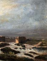 Original 19th Century Period Antique Scottish Highland Bridge Landscape Oil Painting (5 of 11)