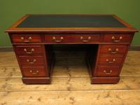 Handsome Antique Pedestal Desk with New Black Leather to Top (2 of 21)