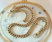 Antique Pocket Watch Chain 1890s Victorian Large 10ct Rose Gold Filled Albert With T Bar (5 of 12)