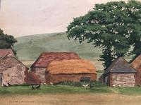 Original watercolour 'A Sussex farm' by Clem Lambert 1855-1925. Signed c.1900 (2 of 2)