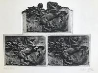 Original Etching '3 Etchings of an Antique Relief Carving' by Bettina McMahon 1972. Australian. B. 1930 (2 of 2)