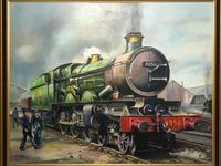Oil Painting Railway Train Engine Princess Margaret 4056 Signed Ken Allsebrook (7 of 30)
