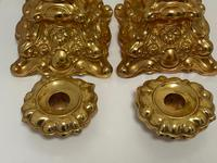 Pair of Decorative French 19th Century Gilded Hallmarked Cartouche Scroll Candlesticks (30 of 40)