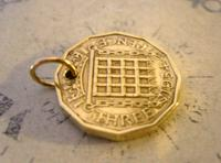 Vintage Pocket Watch Chain Fob 1954 Queen Elizabeth Threpenny Bit Coin Fob (6 of 7)