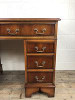 Late 20th Century Yew Wood Pedestal Kneehole Desk (2 of 14)