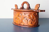 Scandinavian / Norwegian 'Folk Art' Baroque / Acanthus Carved Tine Box c.1910 (3 of 39)