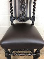 Antique 19th Century Carved Chair with Leather Seat (M-193) (6 of 14)