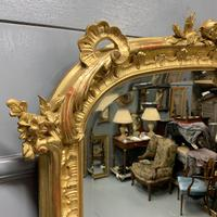 Large French gilt overmantle mirror 185cm (4 of 8)
