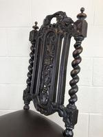 Antique 19th Century Carved Chair with Leather Seat (M-193) (12 of 14)