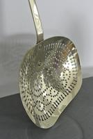 Fine and Large 19th Century English  Brass Cream Skimmer (2 of 7)