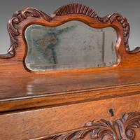 Small Antique Ladies Writing Desk, French, Oak, Bureau, Mirror, Victorian c.1900 (9 of 12)