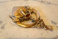 Antique Pocket Watch Chain Fob 1904 Art Nouveau Gilt & Carnelian Stone Fob (3 of 7)