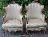 Pair of Elegant 1900's Walnut French Armchairs with Good Carvings