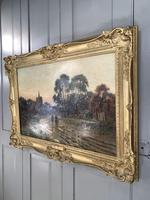 Antique Victorian Landscape Oil Painting In Gilt Gesso Frame Entitled Sunday Evening by R Halfnight (2 of 10)