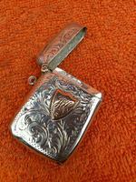 Antique Sterling Silver Hallmarked Vesta 9ct Gold Cartouche 1911, Smith & Bartlam (4 of 9)