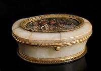 Antique French Jewellery Casket, Alabaster, Ormolu, Dried Flowers (2 of 13)