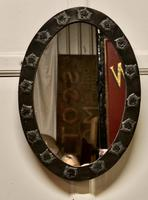 Rare Art Nouveau Oval Pewter Wall Mirror by Daum