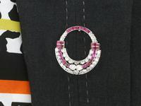 0.97ct Ruby & 2.23ct Diamond, 14ct White Gold Brooch - Art Deco c.1930 (9 of 9)