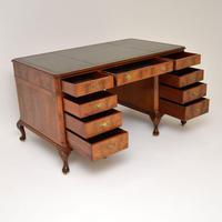 Large Antique Walnut Leather Top Pedestal Desk (10 of 12)