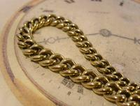 Antique Pocket Watch Chain 1870s Victorian Huge Brass Albert With T Bar & Fancy Mount (6 of 12)