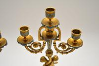 Pair of Antique French Victorian Gilt Bronze Champlevé Candelabra (8 of 12)