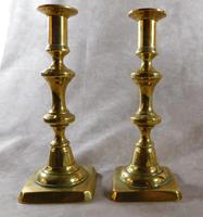 Pair of 19th Century Brass Square Based Candlesticks (2 of 3)