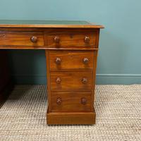 Large Victorian Mahogany Antique Pedestal Desk (3 of 7)