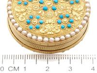 12ct Yellow Gold, Pearl & Turquoise Pill Box - Antique c.1815 (9 of 9)