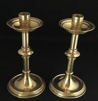 Pair of Gothic Brass Revival Altar Candlesticks