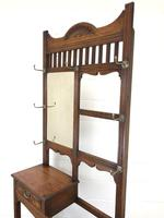 Antique Oak Arts & Crafts Mirrored Hall Stand (6 of 11)