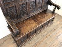 Antique Victorian Carved Oak High Back Settle (7 of 15)