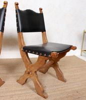 6 Oak Gothic Dining Chairs Carved (5 of 14)