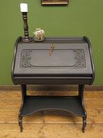 Antique Art Nouveau Black Writing Bureau Desk with Carvings, Lockable, Gothic (21 of 23)